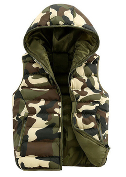 2016 Spring / Autumn Mens & women fashion waistcoat outdoor camouflage cotton hooded vests Men Down sleeveless jacket vest