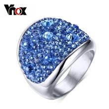 Moda Anéis de Cristal Para As Mulheres Multicolor Rhinestone do Aço Inoxidável Casamento Adolescente do  Feminino Jóias