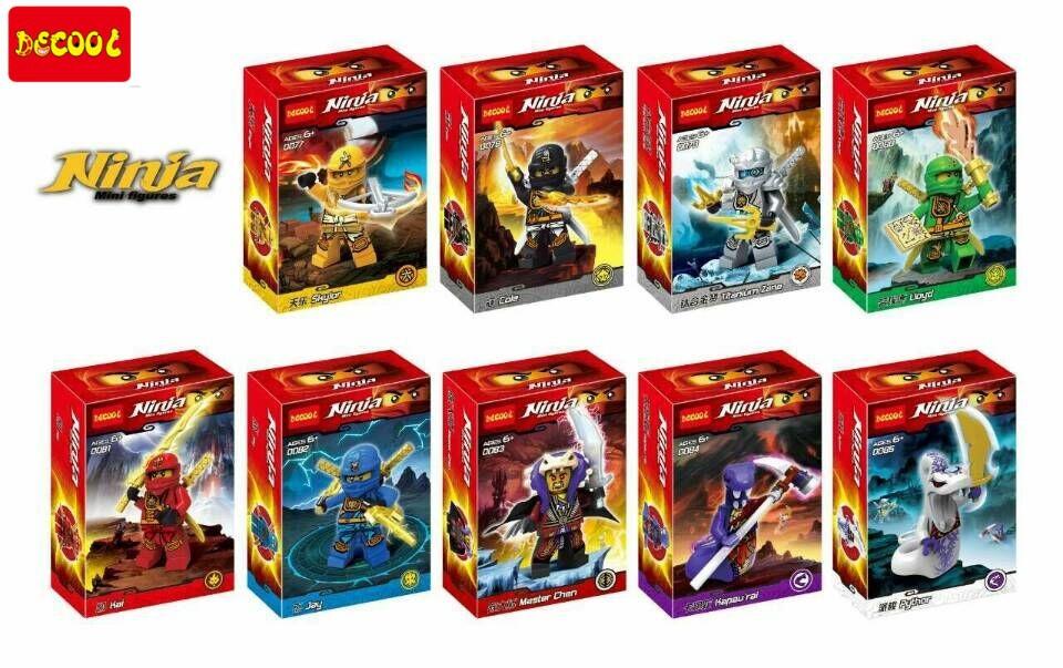 DECOOL 0077-0085 Building Blocks Phantom Ninja Minifigures Justice League Hat Jay Mater Chan Pythor Cole Skyer Bricks Figures<br><br>Aliexpress