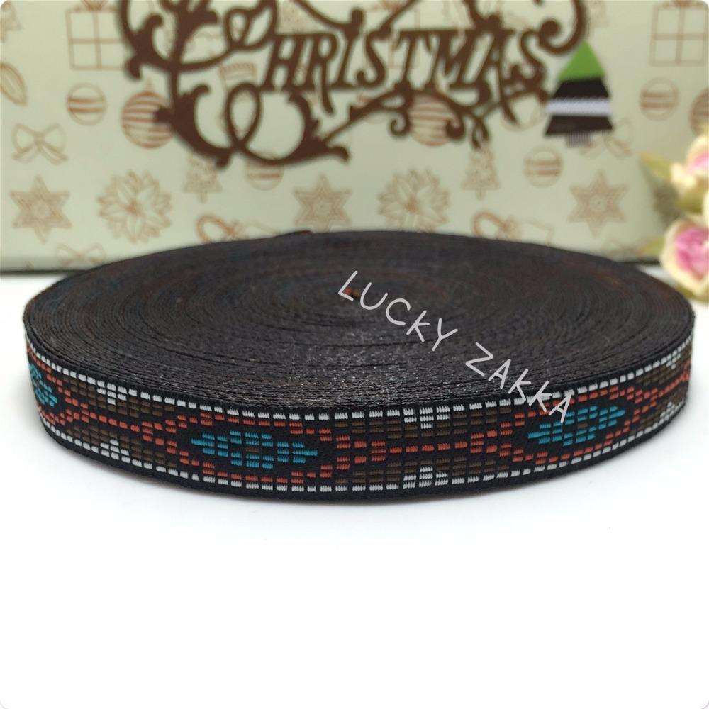 "NEW ribbon wholesale 5/8""(14mmx18yard/sets) 100%polyester Woven Jacquard ribbon orange blue rhombus 3D Geometric series lace(China (Mainland))"