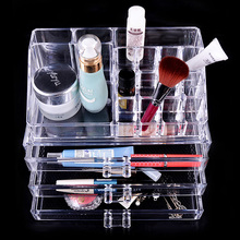 Makeup Case PS Plastic Cosmetics Storage Boxes Transparent 3 Drawers Home Storage Box / Makeup Organizer 240x140x190mm(China (Mainland))