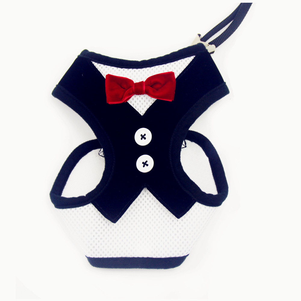 wholesale Free Shipping 12 Sets Boutique Designer Dog Harness Vest and Leash with Bow Tie Suit Formal Wear for Dogs(China (Mainland))