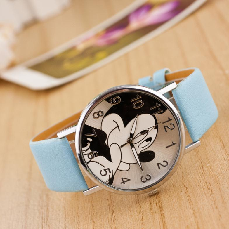 (Y7600) Students Gift Colorful PU Band Wristwatches Cute Cartoon little Mouse Quartz fashion rejoles Children Kids Girls Watch