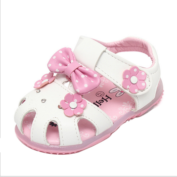 2015 summer new fashion lovely baby flashing light skin Princess Sandals bow flower girls shoes pink white round-toe buckle