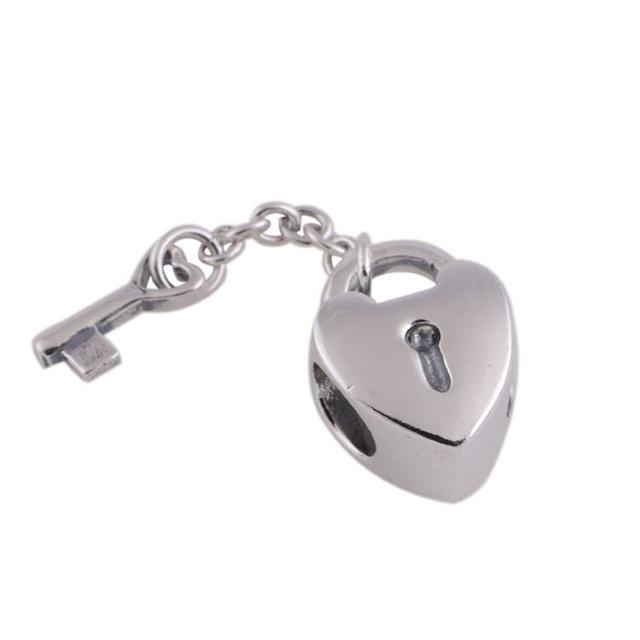 Подходит пандора оригинальный подвески браслеты 925 серебряные ювелирные изделия бусины любовь блокировки клавиатуры рисунок очарование DIY ювелирные изделия поиск продвижение