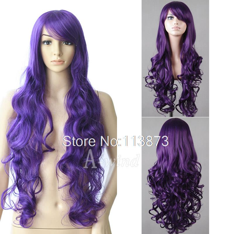 2014 New 32inch 80cm Long Wavy Curly hair Anime Cosplay Wig synthetic wigs Party Full cosplay Purple - TonTom Trading Co., Ltd. store