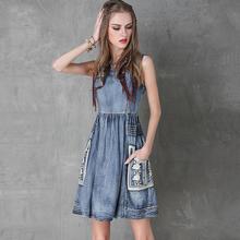 Summer Style Women Dress Yuzi.may Casual 2016 Denim Dresses Sleeveless O-Neck Floral Embroidery Vestido A8117 Vestidos femininos(China (Mainland))