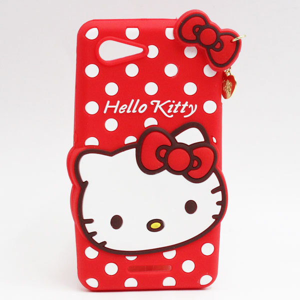5pcs/lot new arrival cute 3D cartoon soft silicon Heart-shaped Hello kitty cover Case for Sony Xperia E3 D2203 D2206(China (Mainland))