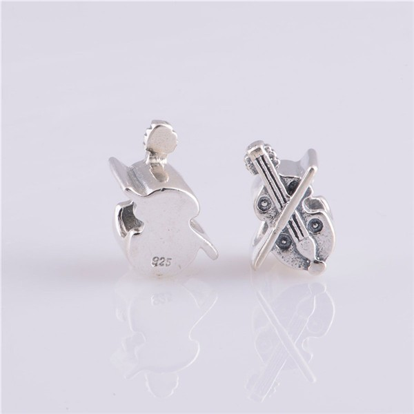 2014 Fashion Delicate Violin Charms 925 Sterling Silver Jewelry Charms 925 Fit European Style Bracelets Necklace
