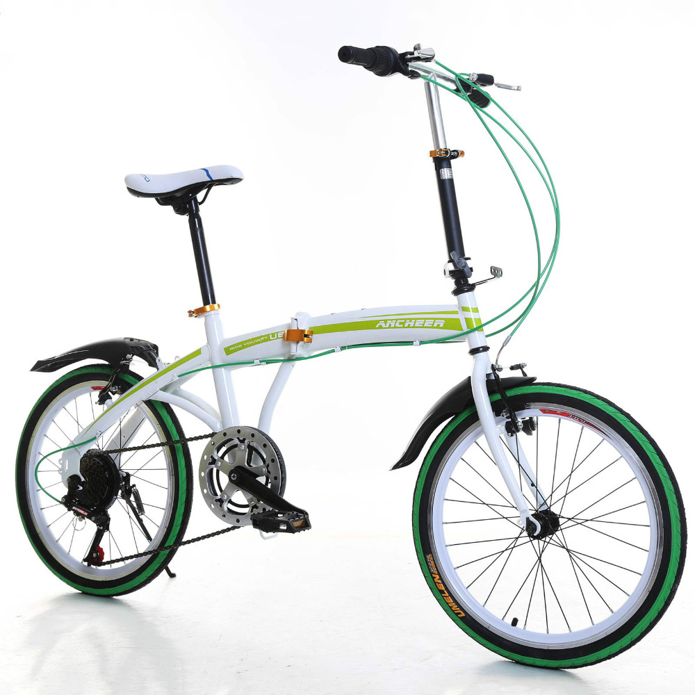 Ancheer 20 inch Portable Folding Bike 6-Speed Road Bicycle Cycling Adult Ladies Bicycles Green(China (Mainland))