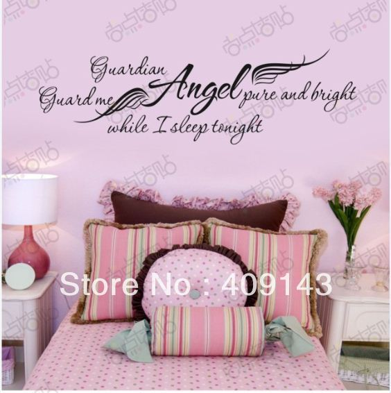 Girls removable vinyl wall art quotes stickers diy bedroom decoration decor wallpaper kids angel - Diy wall decor for bedroom ...