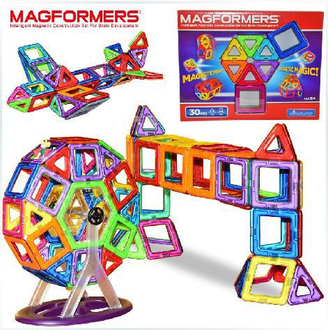30 PCS MAGFORMERS magnetic toys ; magnetic construction blocks 30 pieces healthy constitutive magnetic building blocks(China (Mainland))