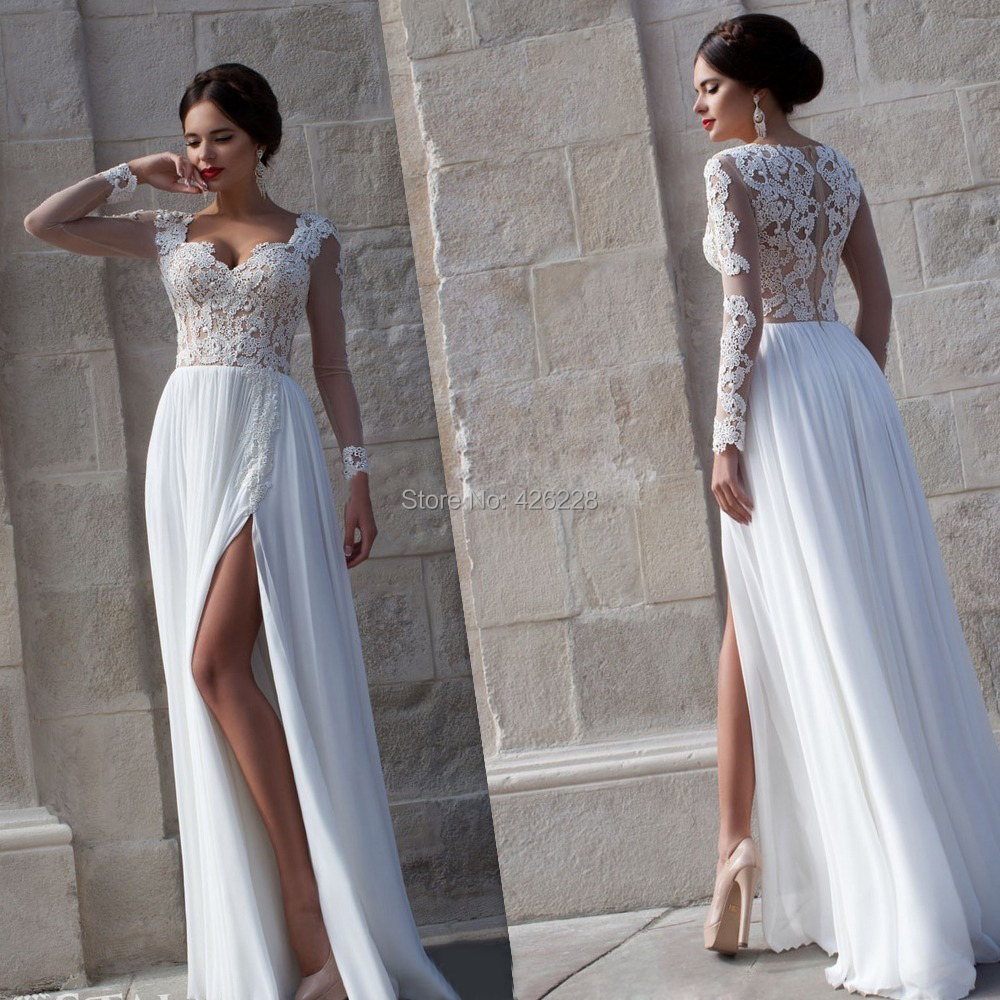 2014 cap sleeve Lace Side Split Floor Length Long Sleeve Sequins White Prom Dress formal evening dress party - anjing* wedding store