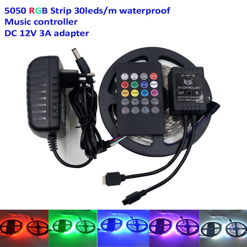 5M RGB Led Strip Light 5050 SMD 30Led/M Fiexble rgb tape Light Led Tape ribbon waterproof+music IR Controller+12V 2A adapter(China (Mainland))