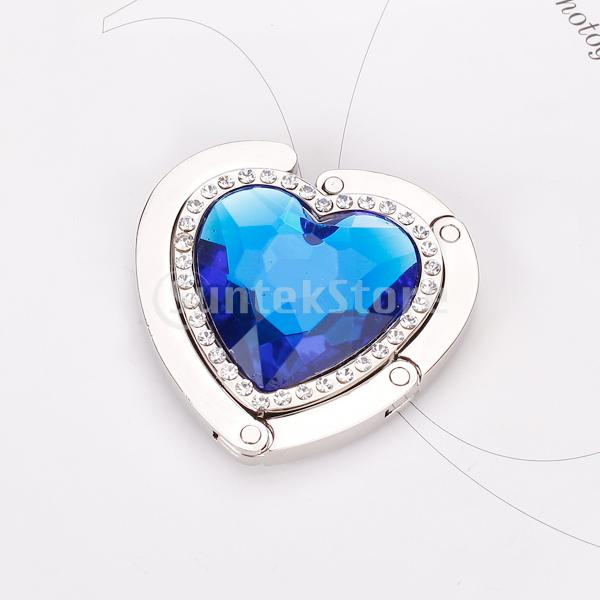 Heart Shape Foldable Purse Handbag Hanger Hook Holder - Royal Blue(China (Mainland))