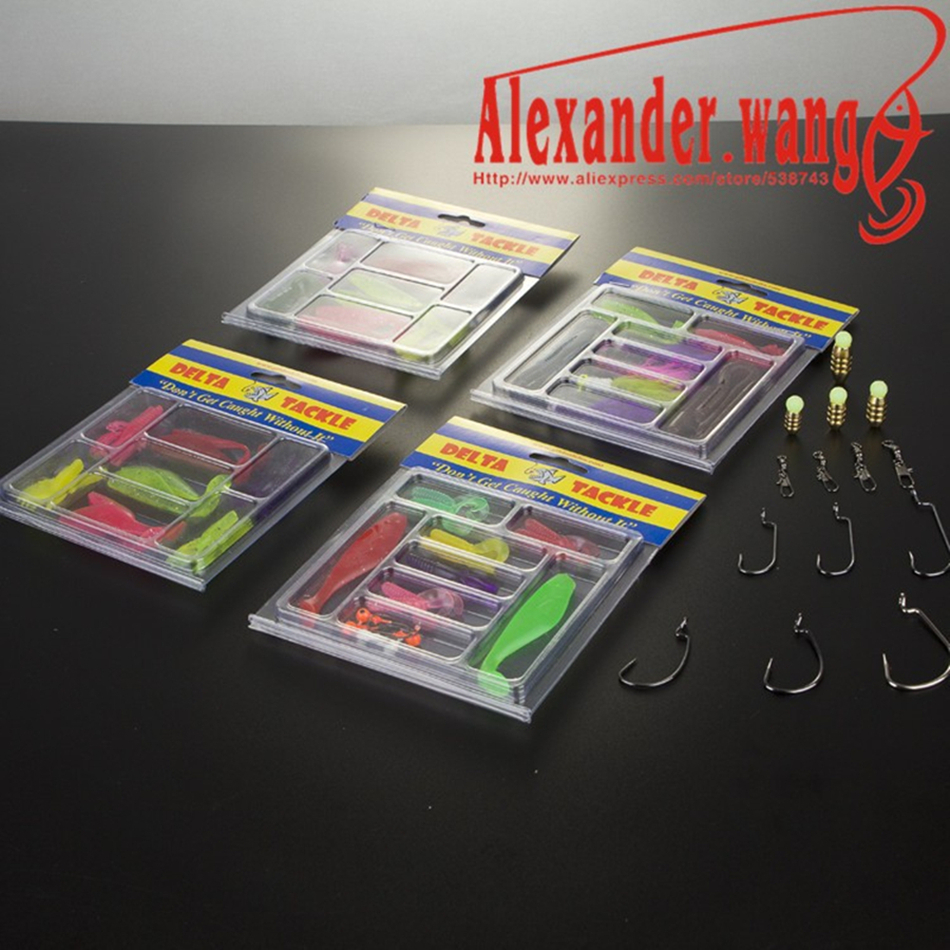 LURE KIT Worm soft hooks soft fishing lure set soft bait fishing tackle centipede grub swivel Copper fall Luminous Beads shad(China (Mainland))