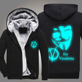 V for Vendetta New winter coats hoodie jackets light Anime Hooded Zipper men thick cardigan Free