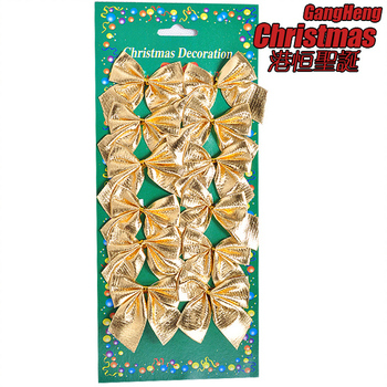Free Shipping(36pcs/lot) -5.5cm Gold bow Christmas tree Decoration ornaments xmas home parties decor