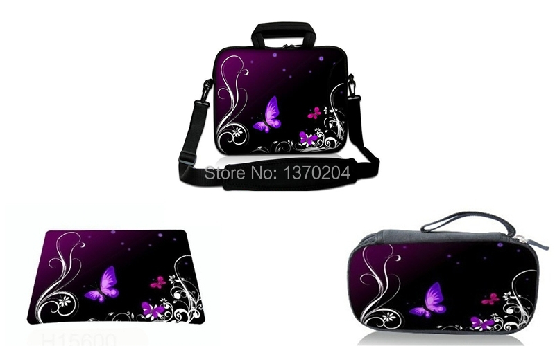 """Fashion Butterfly Adapter Bag+Mousepad+Shoulder Bag Free Shipping 13"""" 15"""" 10"""" 17"""" Laptop Messenger Sleeve Bags(China (Mainland))"""