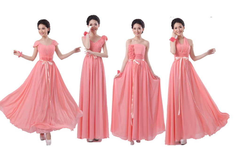 2015 coral bridesmaids dresses empire pleats chiffon long for Plus size coral dress for wedding