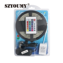 Buy SZYOUMY 5m RGB Led Strip SMD 3528 Waterproof IP65 300 Led Strip Light + 24 Keys IR Remote+12V 2A Power Supply Blister Pack for $777.60 in AliExpress store