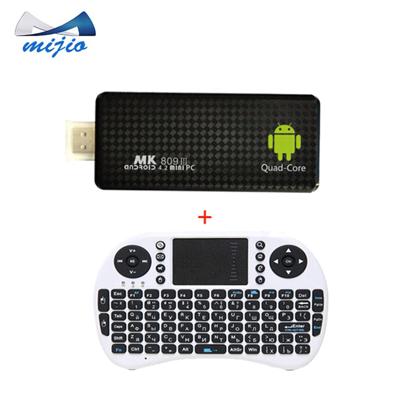 Android MK809iii Mini PC Quad Core TV Box RK3188 2G/8GB chromecast Bluetooth Wifi TV Player HDMI tv stick+Air mouse keyboard i8(China (Mainland))