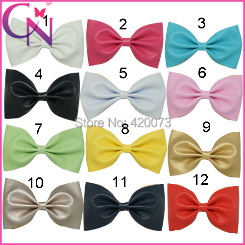 """Free Shipping 24 Pcs/lot 5"""" Fashion Solid Hair Bow For Baby,Handmade Girls Leather Bows With Clips,Boutique Children Hairbow(China (Mainland))"""