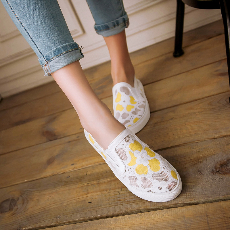 Sweet Lace Mesh Air Spring Style Casual Flats Womens Shoes Round Toe Slip On Boat Shoe Woman <br><br>Aliexpress