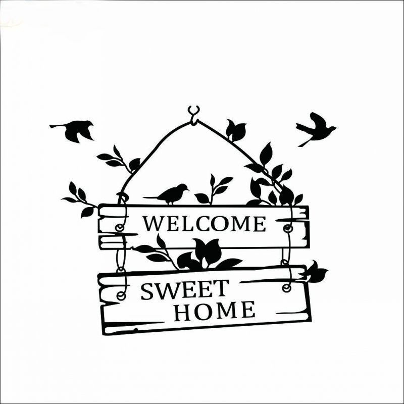 welcom to sweet home bird wall stickers home decorations living room decoration sticker removable vinly wall decals (4)