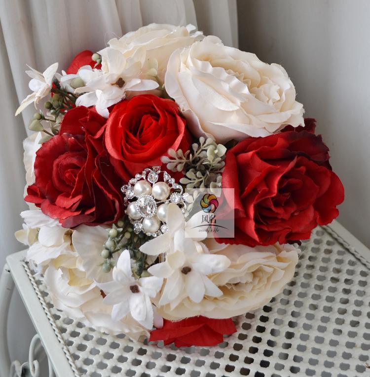 Brand New Vintage Style Wedding Bridal Bouquet Hand Made Bridesmaid Flower Wedding Brooch Silk Flower Wedding Supplies(China (Mainland))