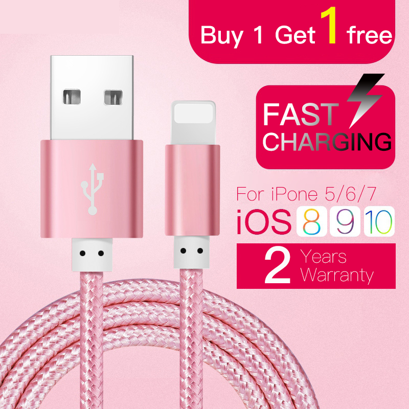 Buy 1 Get 1 Free MFI Certified Nylon Braided Data Sync Fast Charging Lightning USB Cable For iPhone 7 6 6sPlus 5 5s SE iPad iPod(China (Mainland))