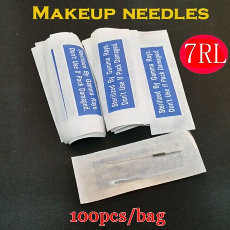 Free Shipping 100PCS 7RL Professional Sterilization Permanent Individually packed Permanent Makeup Needles For Eyebrow Lip 7R