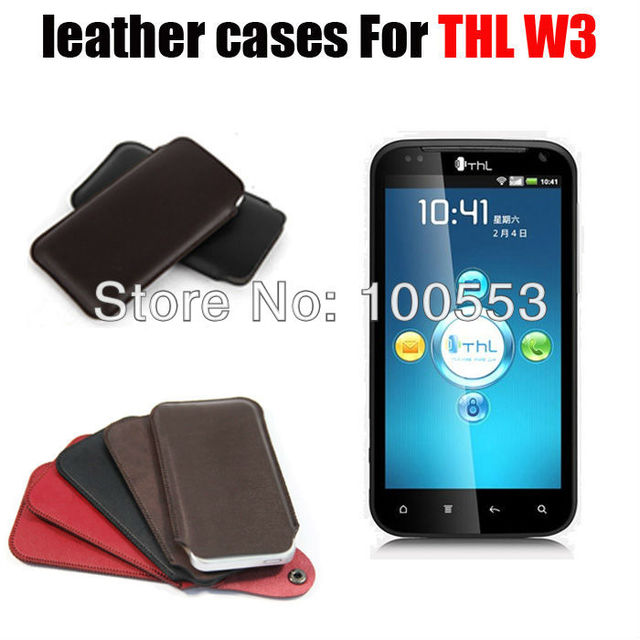 """New In Stock 4 colors Microfiber PU leather cases for 4.5"""" THL W3 dual core 3G cell phone MTK6577 with retailing package"""