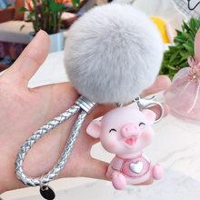 Animal dos desenhos animados Fluffy Rabbit Fur Pom Pom Bonito Amor Porco Boneca Chaveiro Sino Pompons Mulheres Anel Chave Do Carro Chave Bolsa chains Bijuterias(China)