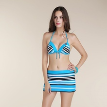 3 Pieces Swimwear Striped Skirt Women Sexy Swimsuit Monokini Padded Bra Female Bikini Biquini Set Beach Wear Dress Bathing Suit