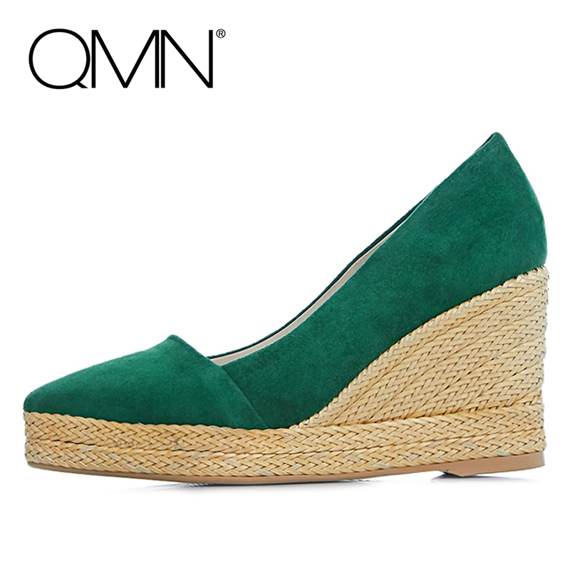 Фотография QMN brand genuine leather women wedges Women High Heels Platform Shoes Woman Pumps Ladies Shoes Zapatos Mujer More Colors 34-39