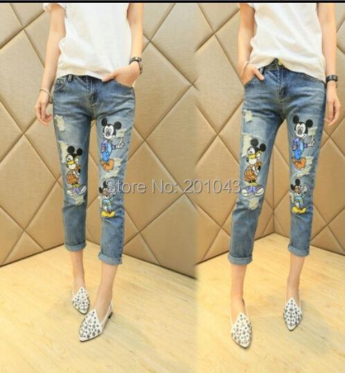 Fashion women's lady's sexy Print Mickey Denim Harem cartoon Nine Ripped Hole capris jeans pants trousers with bow 2015(China (Mainland))
