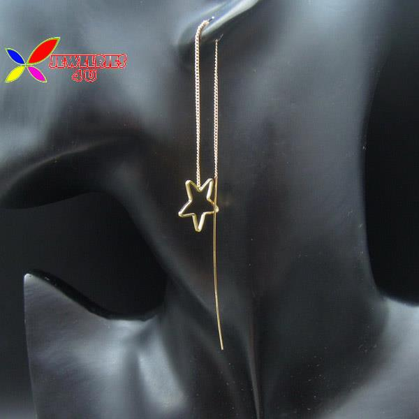 2015 fashion designer gold silver copper open star heart rhombus stick chandelier through earrings for women brincos candelabro(China (Mainland))