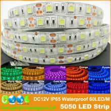 LED strip 5050 DC12V flexible light IP65 Waterproof 60LED/m 5m/Lot,RGB/Pink/Orange/Purple 5050 LED Strip.(China (Mainland))