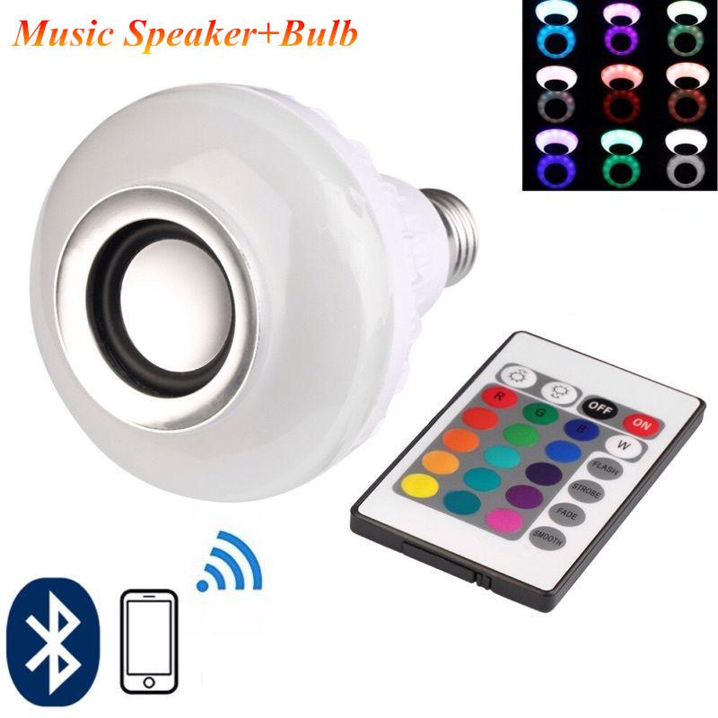 Wireless Bluetooth Speaker +12W RGB Bulb E27 LED Lamp 100-240V 110V 220V Smart Led Light Music Player Audio with Remote Control(China (Mainland))