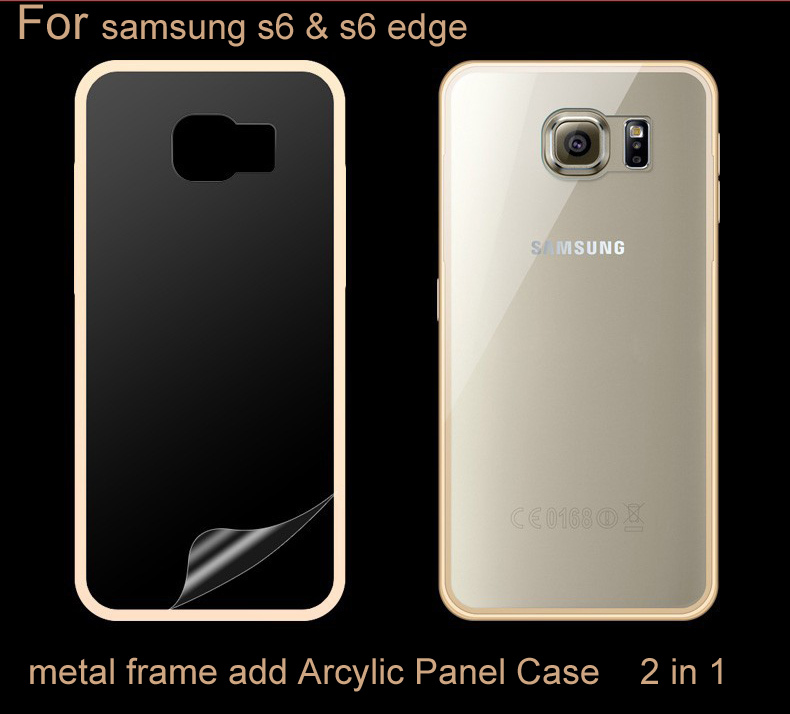For samsung s6 s6 edge Metal Aluminum + Arcylic Panel Case for samsung s6 s6 edge Luxury Hybrid Hard Armor Protective Cover(China (Mainland))
