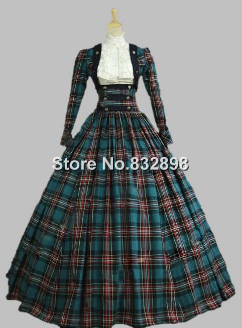 Victorian Civil War 3 pc Classic font b Tartan b font Period Dress Ball Gown Reenactment