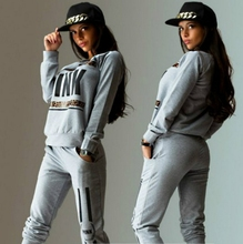 New Fashion Women Tracksuit Sport Suit Letter Pink Jogging Suits Moletom Sudaderas Mujer Autumn Set Chandal Sweatshirt+Pants Hot(China (Mainland))