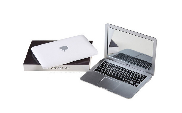 2014 new hot Air Style Portable Mirror Apple Notebook Creative Make Up Mirror W1049(China (Mainland))