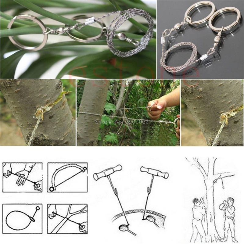Field Survival Stainless Wire Saw Hand Chain Saw Cutter Outdoor Emergency Fretsaw Camping Hunting Wire Saw Survival Tool -B119