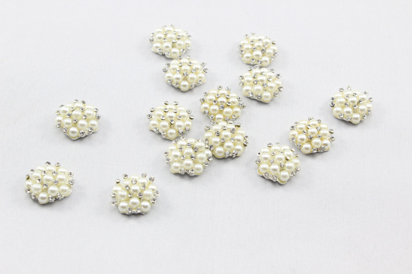 Wholesale -Trail order Alloy Metal Buttons 15mm MINI Pearls centre bling Button Flat Back baby accessories 10pcs/lot(China (Mainland))