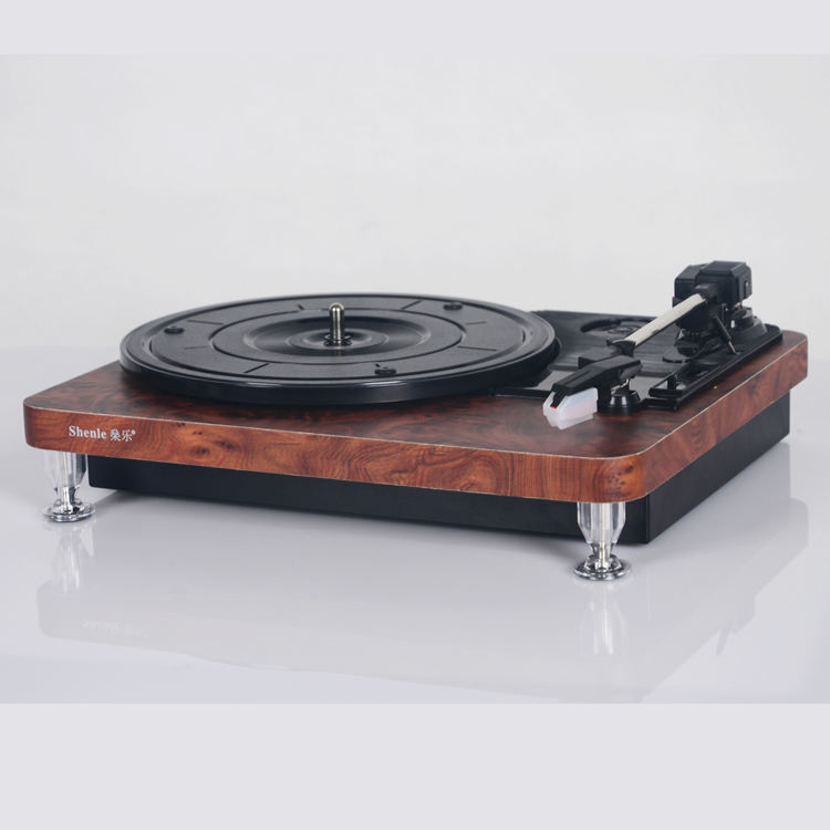 Old fashion wooden phonograph record player vintage vinyl player LP Turntables USB-powered machine transcription(China (Mainland))