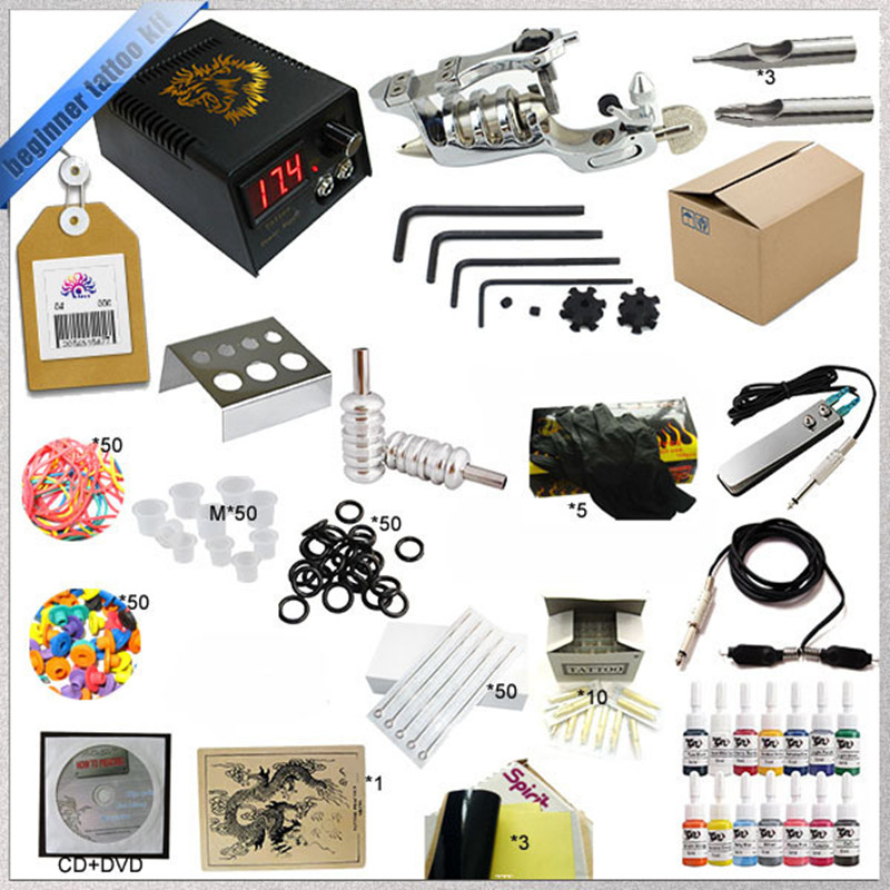 Wholsale Tattoo Kit 1 Rotary Tattoo Guns Machine Kits 14 Tattoo Ink Color Led Power Supply Needle Paper Kit Case<br><br>Aliexpress