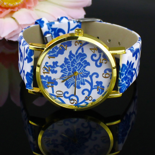 Popular Women's Flowers Pattern Faux Leather Analog Ceramic style Quartz Watches NO181 5V89 3Y3FD