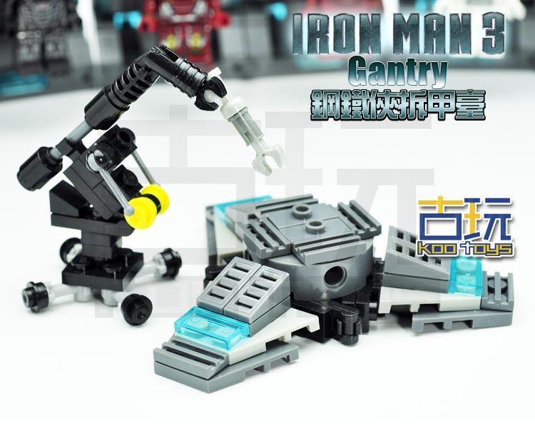 MOC 1pcs The IRON MAN WORK STATION Hall of Armor MARK War Machine SUPER HEROES Minifigures Assemble Building Blocks Kids Toys(China (Mainland))